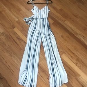 Lovers& friends blue stripped jumpsuit